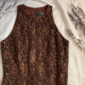 Beaded Brown Lace Cocktail Dress